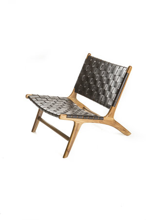 Boro lounge chair - dark brown leather & natural teak