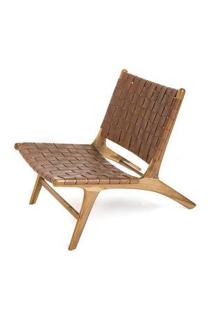 Boro lounge chair - vintage leather & naturel teak