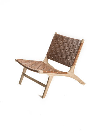 Boro lounge chair - vintage leather & unfinished teak