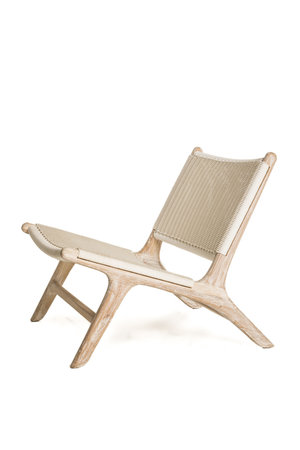 Madison lounge chair outdoor - white rattan & natural teak