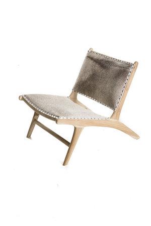 Monroe lounge chair - salt & pepper cowhide & unfinished teak