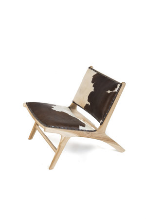 Monroe lounge chair - white & brown cowhide & unfinished teak
