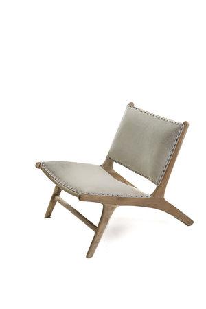Monroe lounge chair - white cowhide & white wash teak