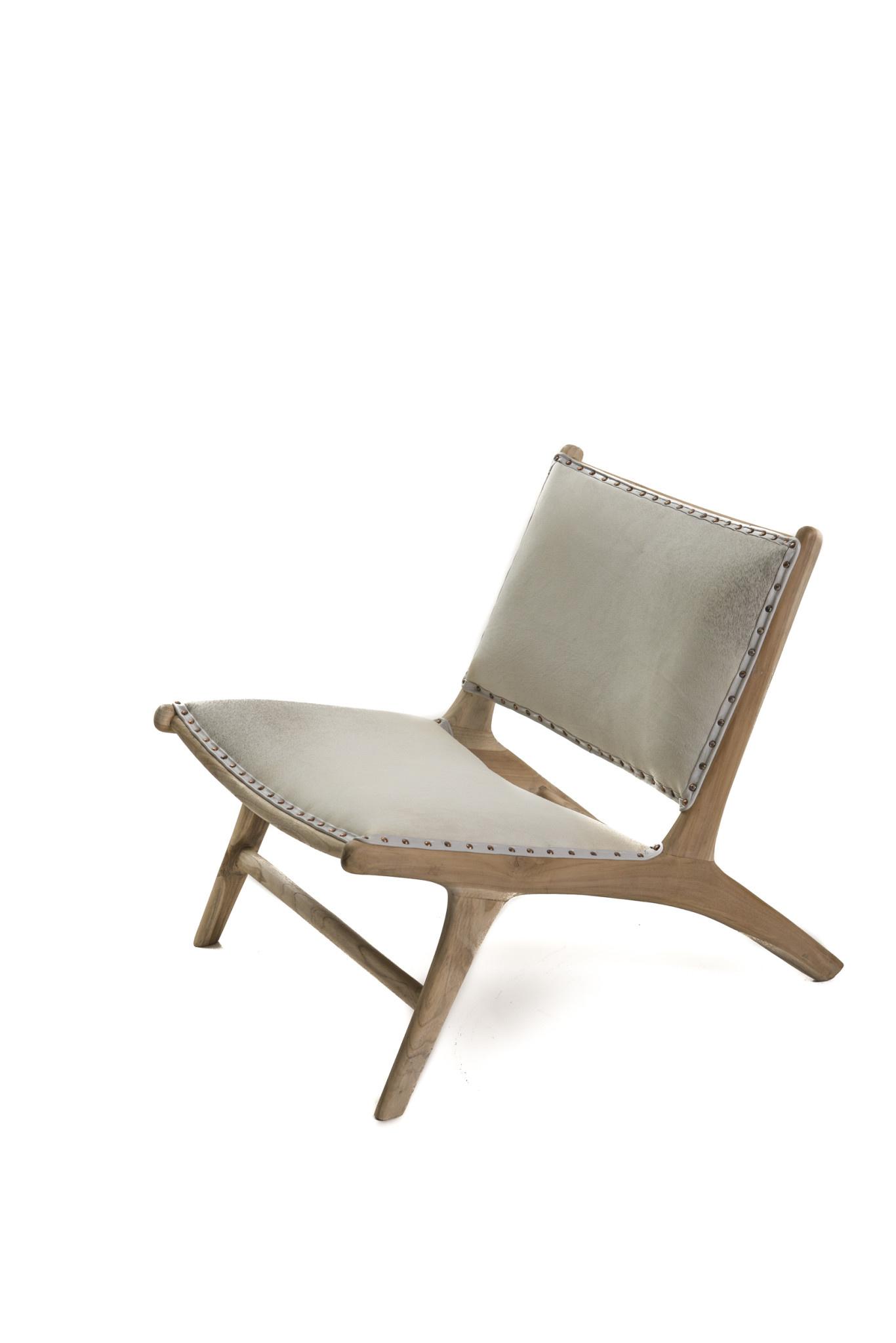 Couleur Locale Monroe Lounge Chair White Cowhide White Wash Teak