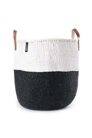 Kiondo basket - 50/50 color black and white with leather straps