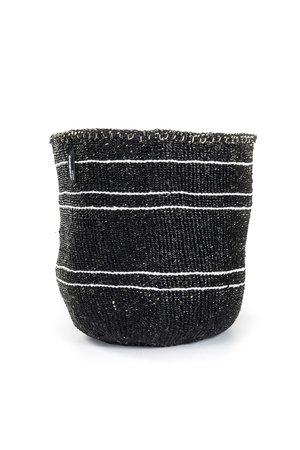 Kiondo basket - white 5 stripes on black