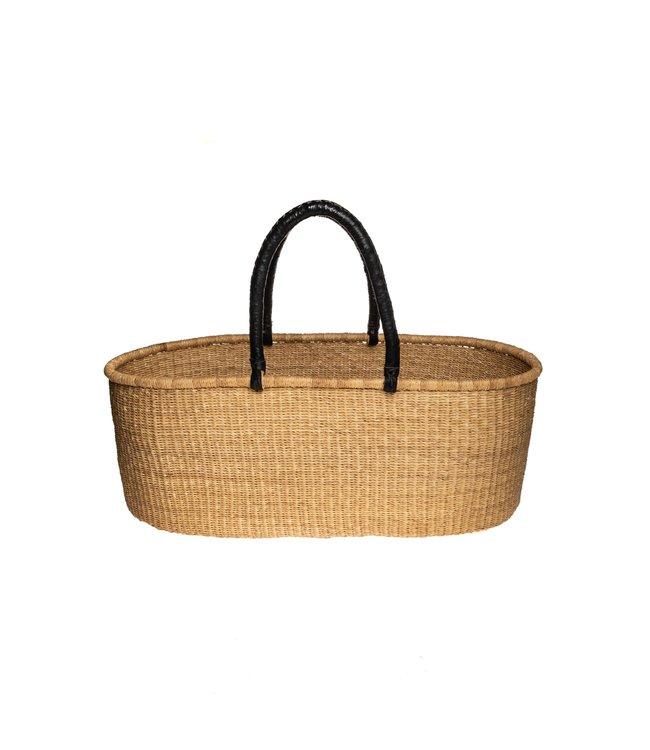 Bolga Mozes basket with leather handles - straight model