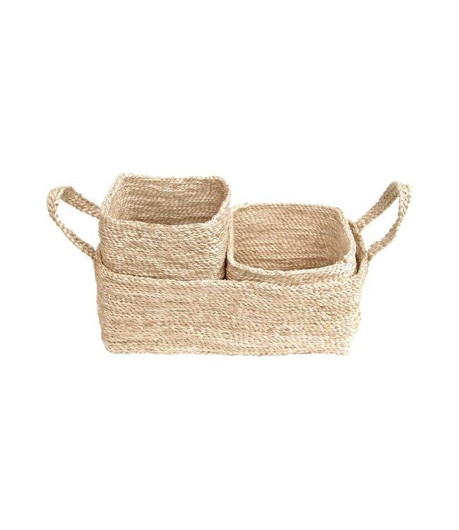 Trio of jute baskets - naturel