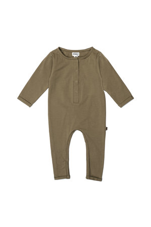 Kidwild Collective Organic Henley playsuit- mocha