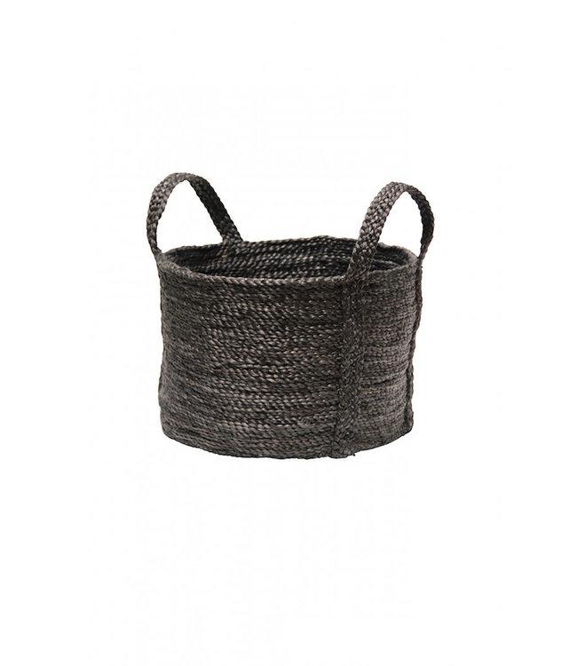 Round jute basket - charcoal
