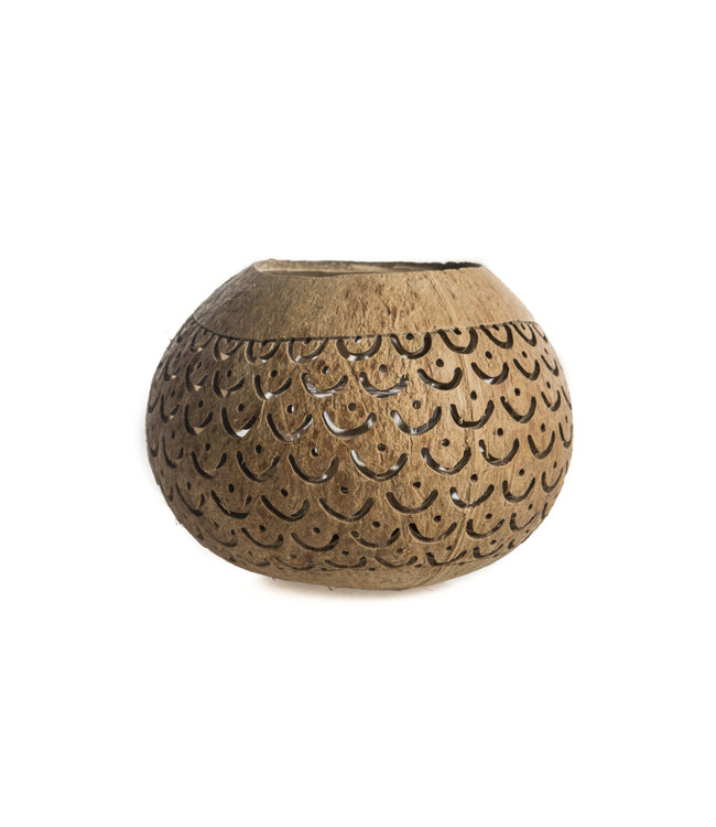 Brown coconut tea light holder