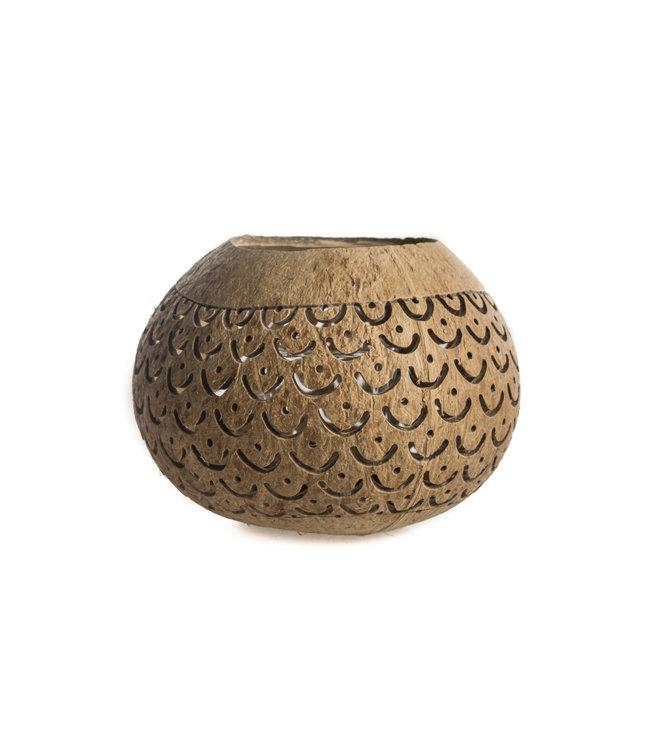 Bruine kokosnoot theelichthouder