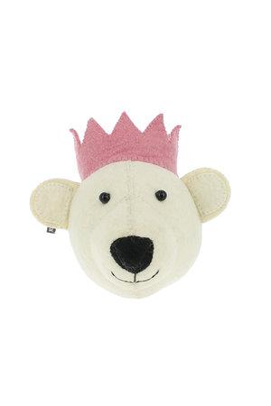 Fiona Walker England Dierenhoofd mini - witte beer met roze kroon
