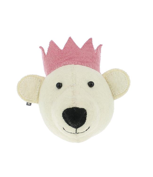 Animal head mini - white bear with pink crown