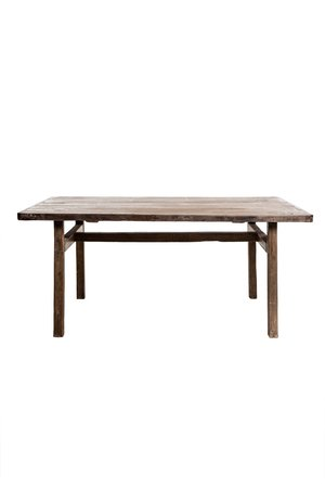 Old elm table with wooden legs 177cm
