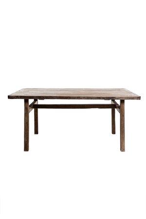 Oude olm tafel met houten poten 177cm