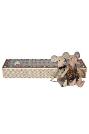 Maileg Mice, grandpa & grandma in matchbox