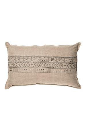 Linen Cushion - Block embroidery