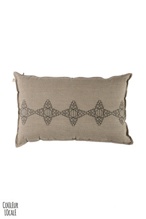 Linen Cushion - Crossed embroidery