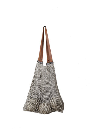 The Dharma Door Jute string bag with leather handles