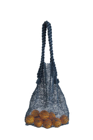 The Dharma Door Jute string bag with leather handles - indigo