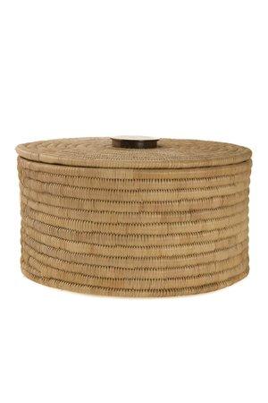 Palm cylinder storage basket with lid