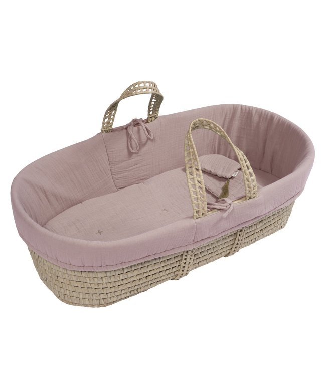 Bed linen for moses basket - dusty pink