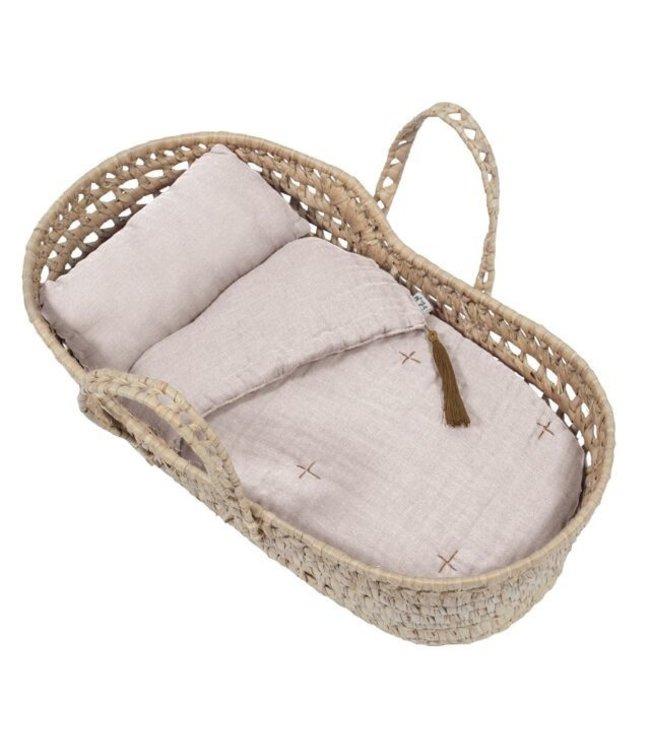 Bed linen for doll basket - powder