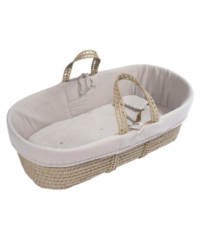 Bed linen for moses basket - powder