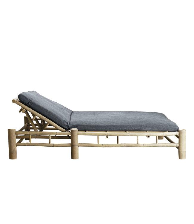 Bamboe dubbel ligbed met donkergrijze matras