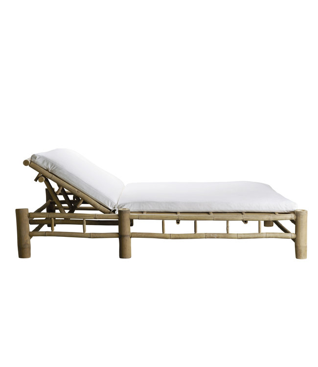 Bamboo double sunbed with white mattress