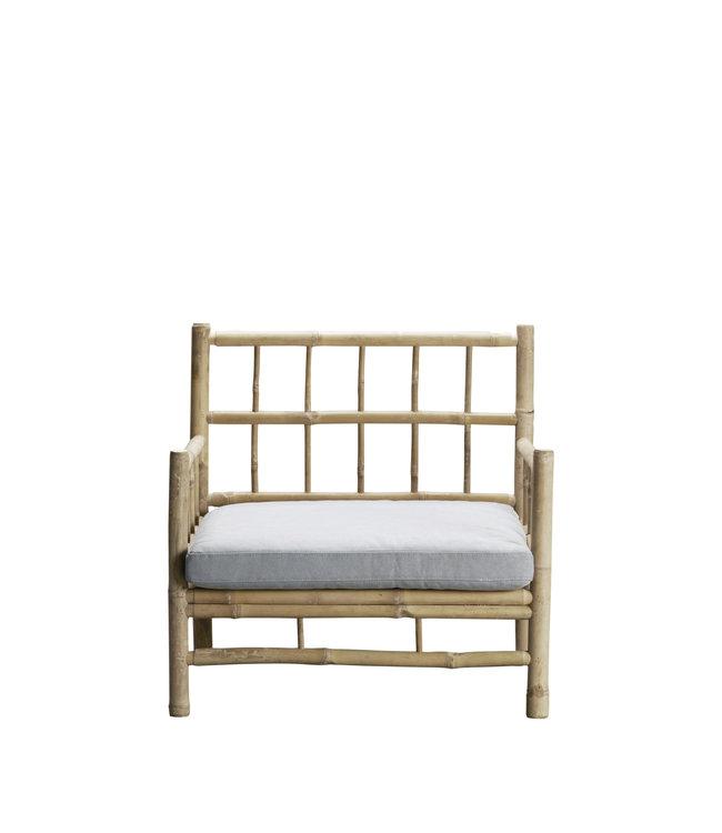 Bamboe lounge stoel met grijze matras