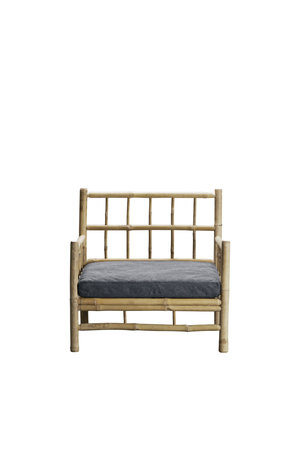 Tine K Home Bamboe lounge stoel met donkergrijze matras