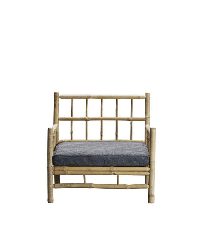 Bamboe lounge stoel met donkergrijze matras