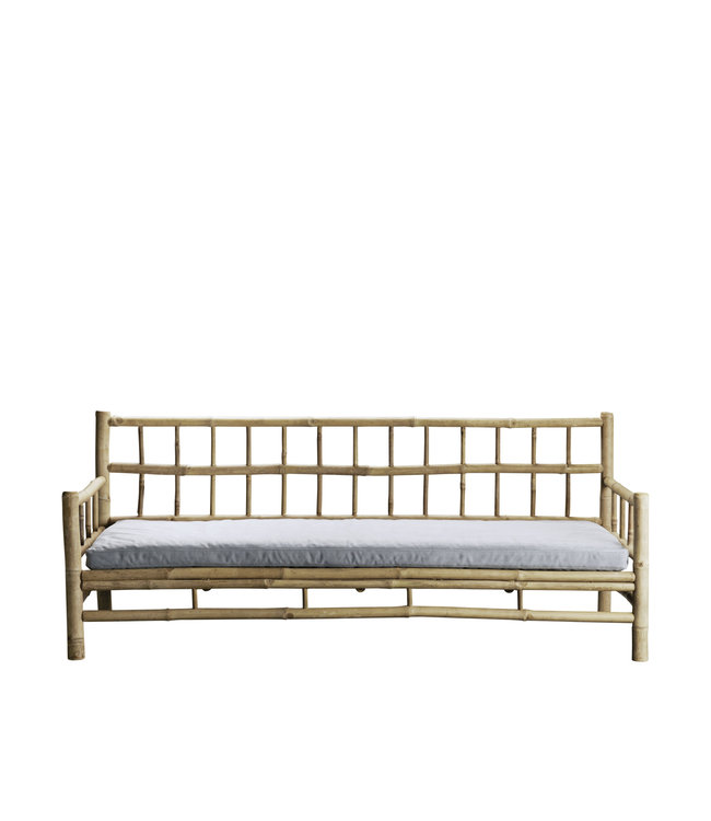Bamboo lounge couch with grey mattress