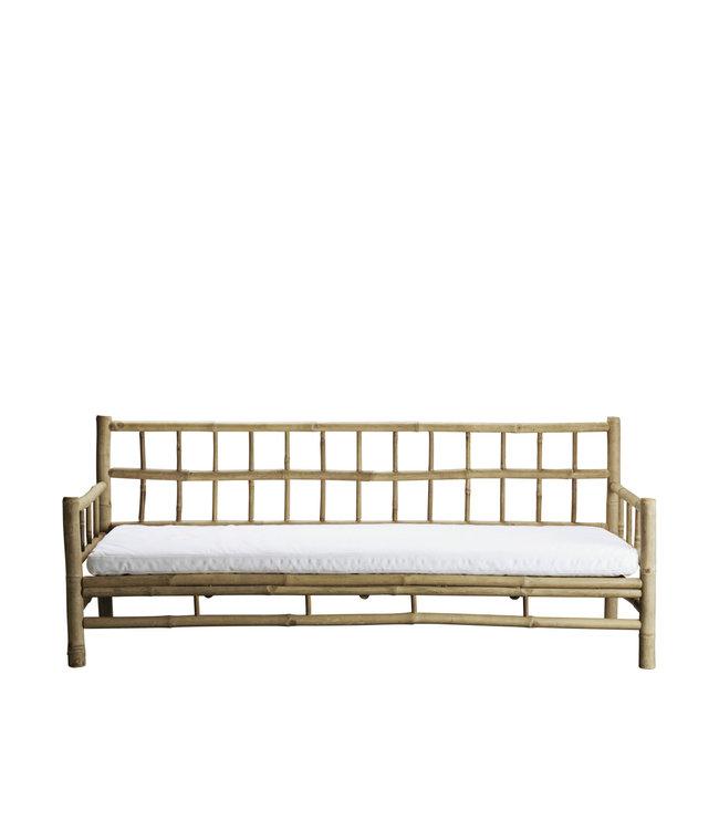 Bamboe lounge zetel met witte matras