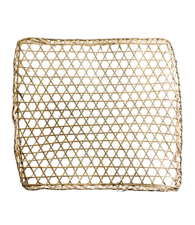 Bamboe muur deco, vierkant, geweven - naturel