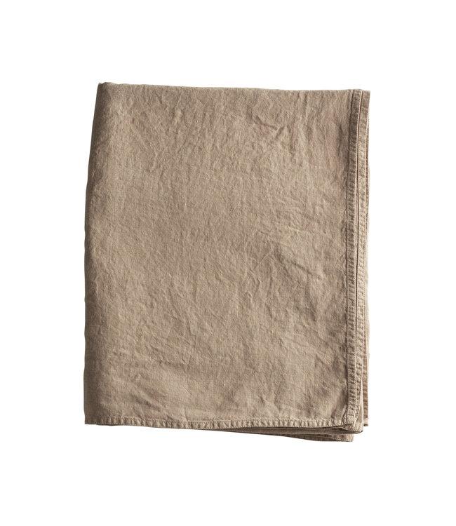 Versatile striped fabric in organic linen - camel