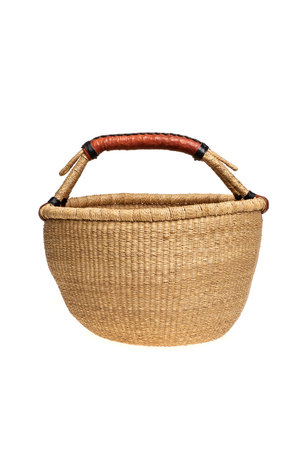 Bolga basket with leather handles - natural