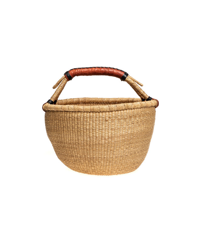 Bolga basket with leather handles - natural