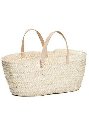Palm basket with leather handles
