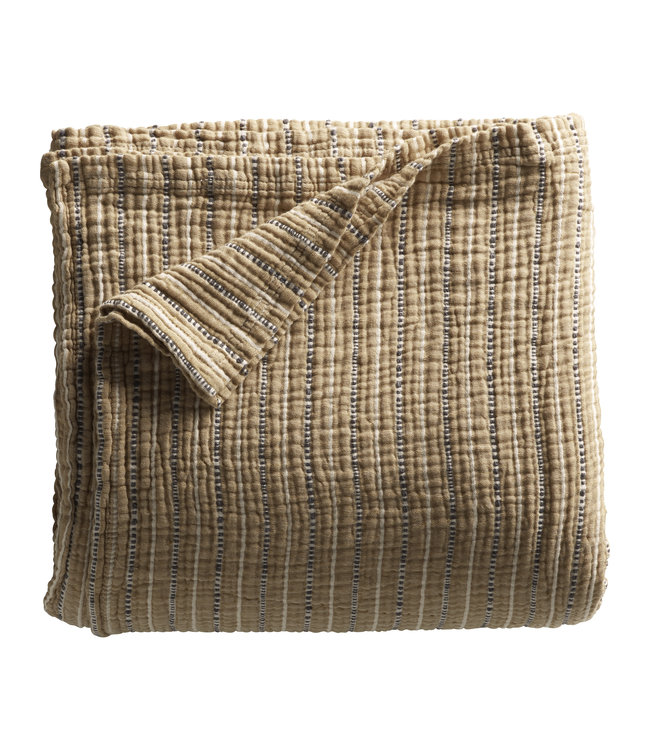 Bed throw in fine woven and stribed texture - curry