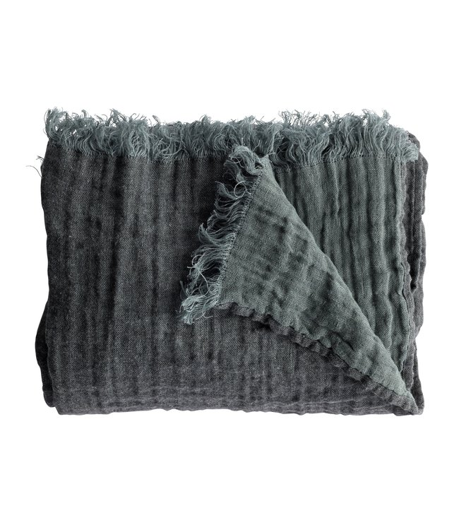 Tine K Home Bed throw with fringes - ocean