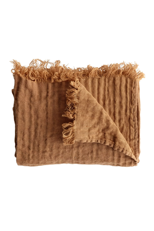 Tine K Home Bed throw with fringes - amber