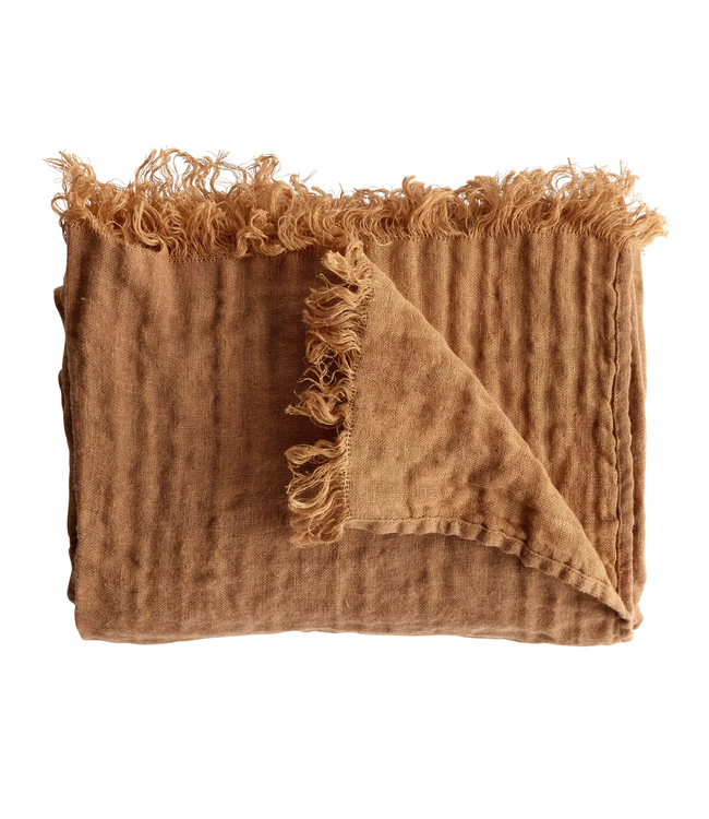 Bed throw with fringes - amber