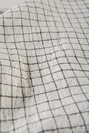 Linge Particulier Dekbedovertrek linnen - white black checks