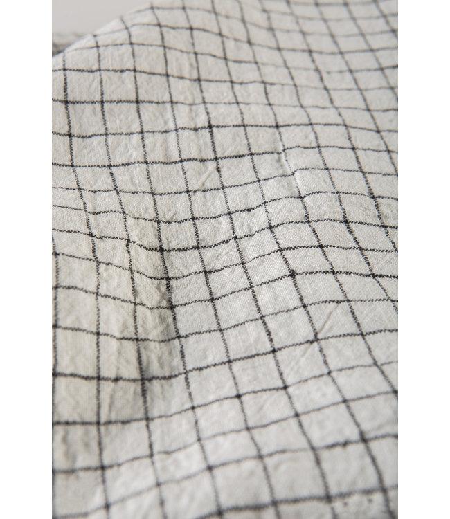 Linge Particulier Dekbedovertrek linnen - white black checks