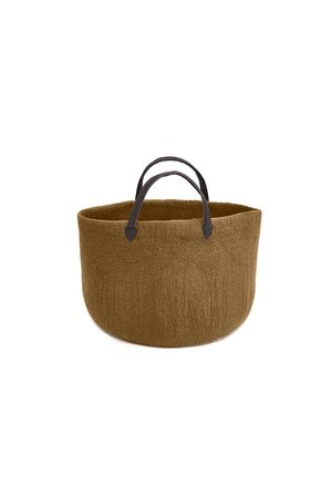 Felt basket with leather handles - different colors