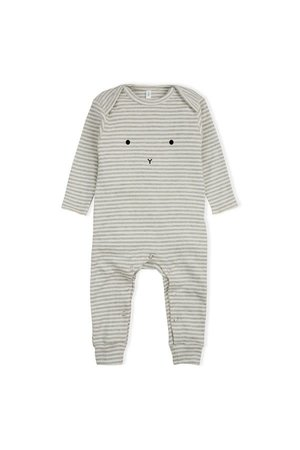 Organic Zoo Playsuit 'bunny' grey stripes