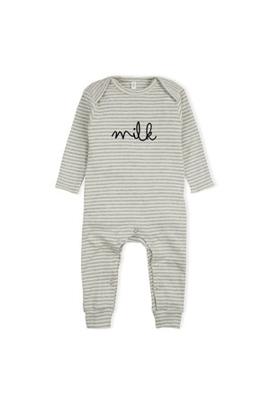 Organic Zoo Playsuit 'milk' grey stripes
